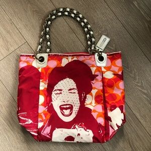 COACH limited Parker Nylon Laughing Girl Tote